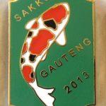 Gauteng Chapter Koi Show pin 2013. Judges Green (Sanke)