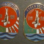 Essex Club pin original Heavy Brass and enamels, slightly dome (Left)